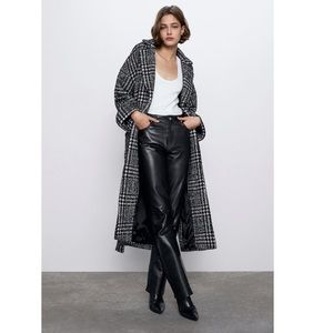 Zara  brand new with tags belted plaid coat Meduim